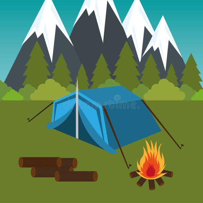 Het kamperen streek met tent en kampvuur vector illustratie