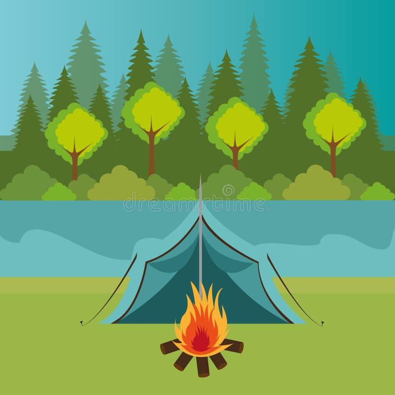 Het kamperen streek met tent en kampvuur royalty-vrije illustratie