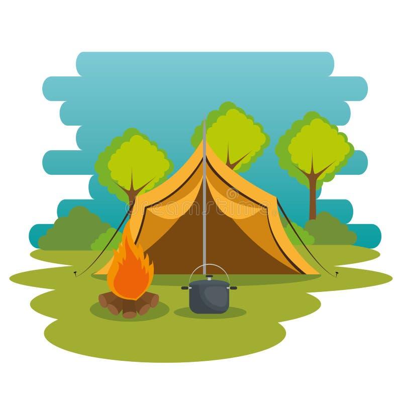Het kamperen streek met tent en kampvuur stock illustratie