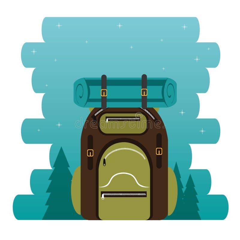 Het kamperen streek met zak royalty-vrije illustratie