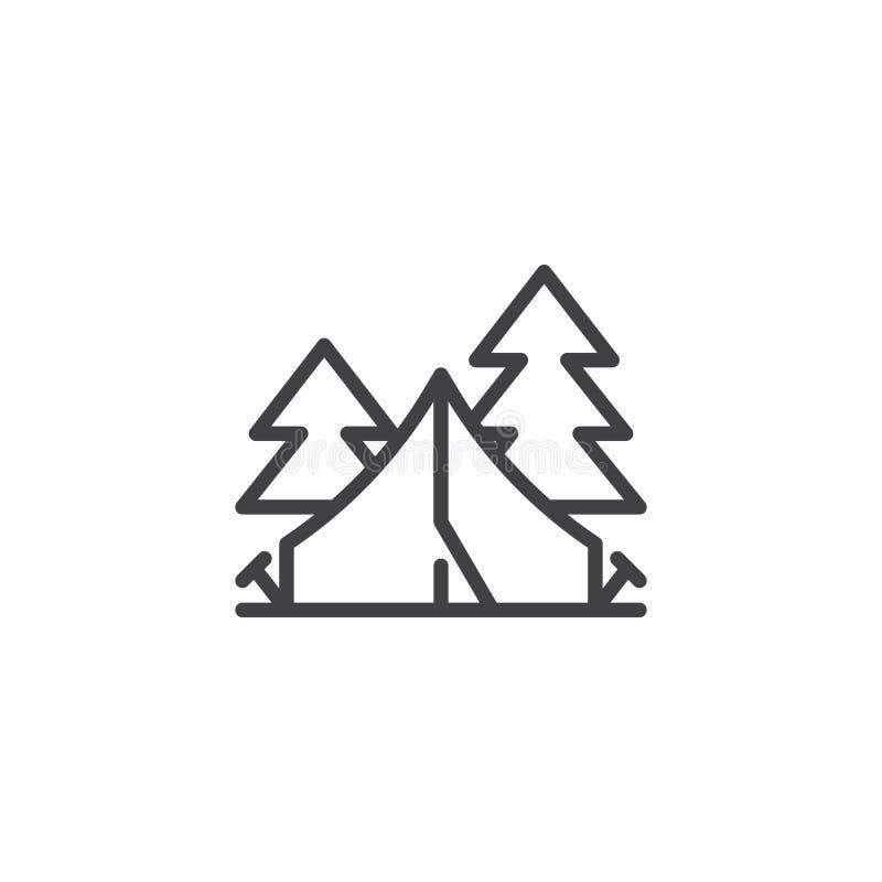 Het kamperen tent in boslijnpictogram stock illustratie