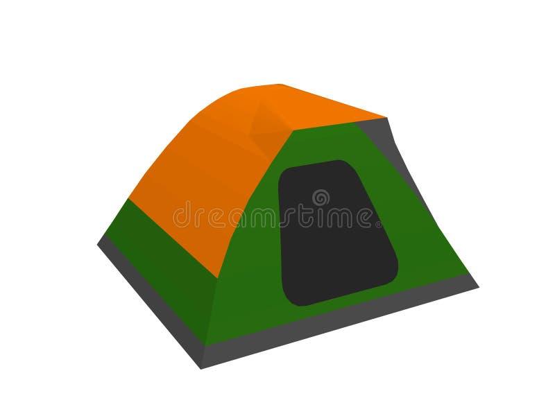 Het kamperen Tent Geïsoleerdj op witte achtergrond Vector illustratie royalty-vrije illustratie