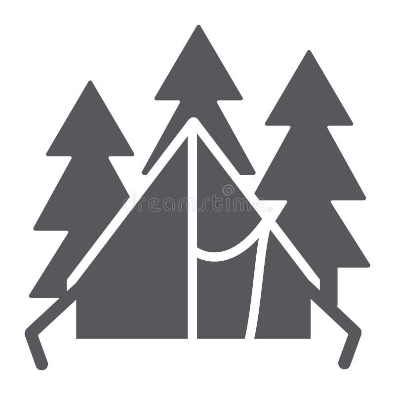 Het kamperen tent glyph pictogram, reis en toerisme, schuilplaatsteken, vectorafbeeldingen, een stevig patroon op een witte achte royalty-vrije illustratie