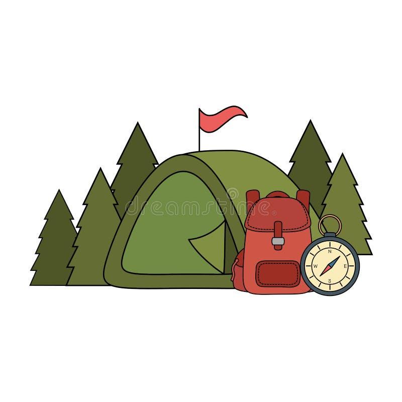 Het kamperen tent met travelbag en kompas vector illustratie