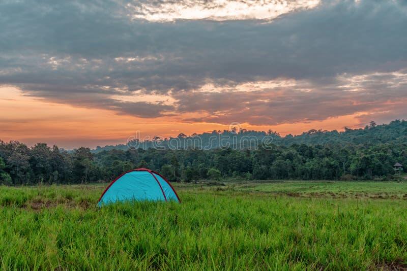 Het kamperen tent op grasgebied met achtergrond van bos en bergen en sunrising hemel in natuurreservaat royalty-vrije stock fotografie