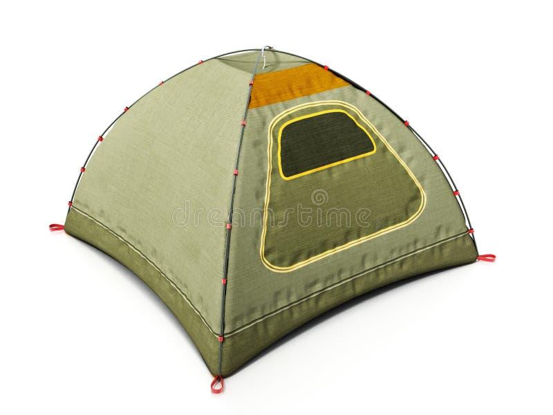 Het kamperen tent op witte achtergrond wordt geïsoleerd die 3D Illustratie royalty-vrije stock fotografie