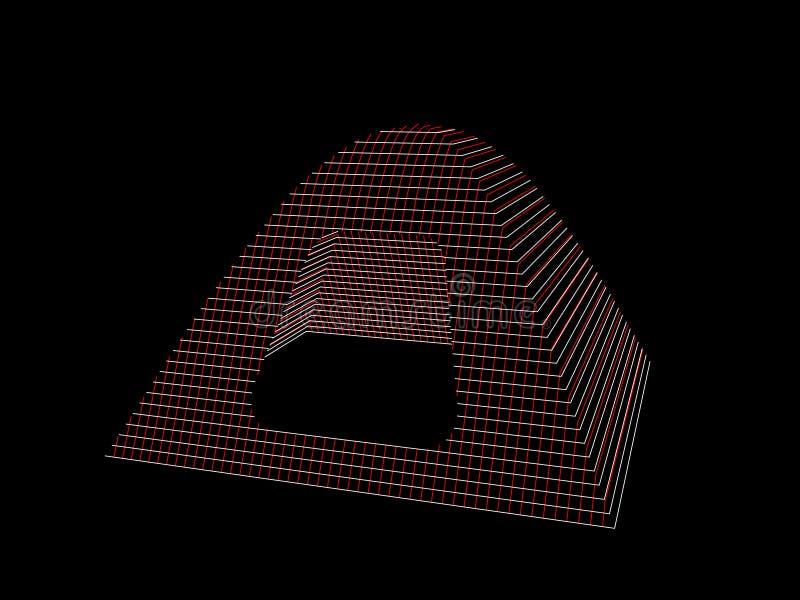 Het kamperen tent wireframe vectorcontourillustratie royalty-vrije illustratie