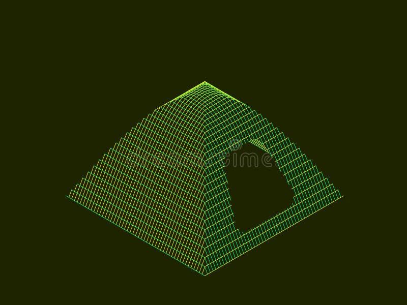 Het kamperen tent wireframe vectorcontourillustratie stock illustratie