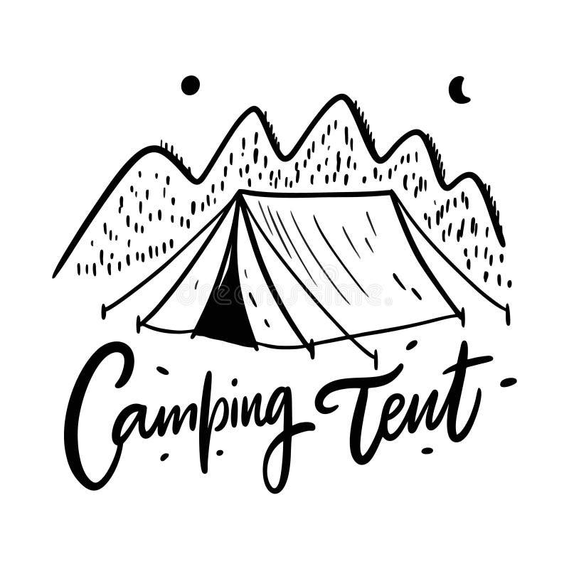 Het kamperen Tenthand getrokken vectorillustratie Ge?soleerdj op witte achtergrond vector illustratie