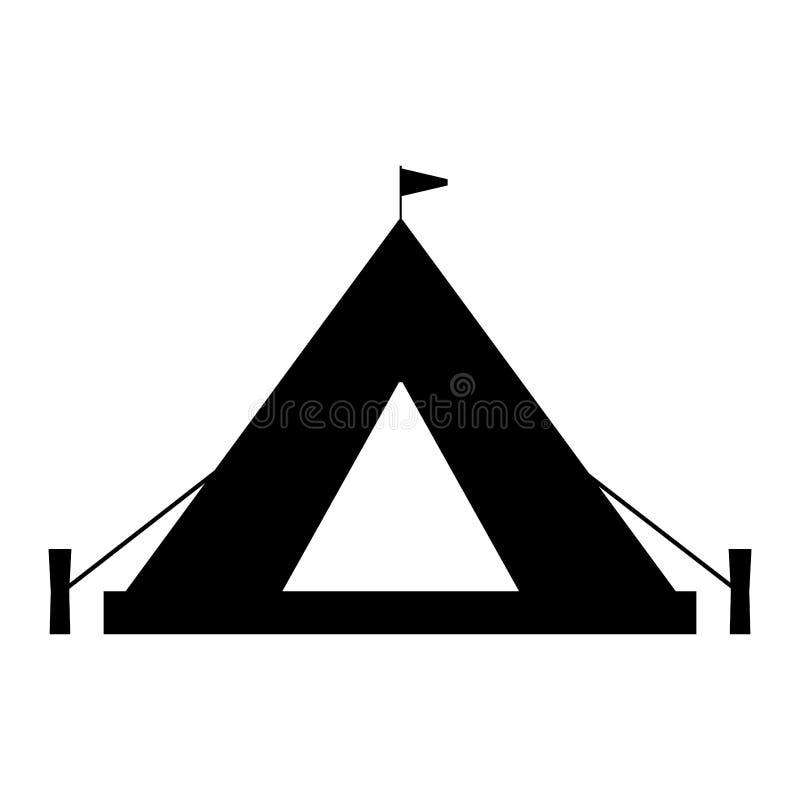 Het kamperen tentsilhouet Geïsoleerd op wit vector illustratie