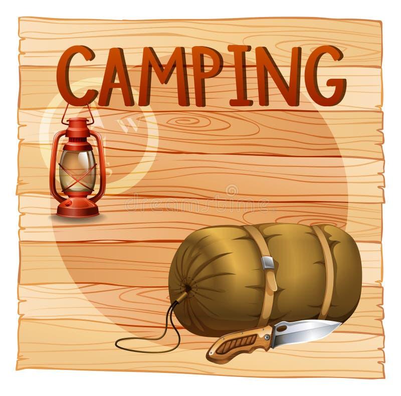 Het kamperen toestellen met lantaarn en slaapzak vector illustratie