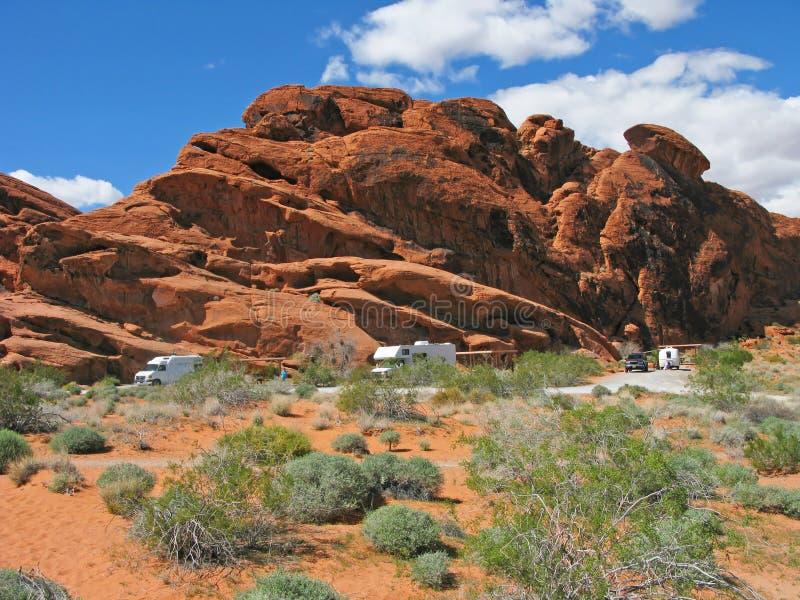 Het kamperen - Vallei van Brand - Nevada royalty-vrije stock fotografie