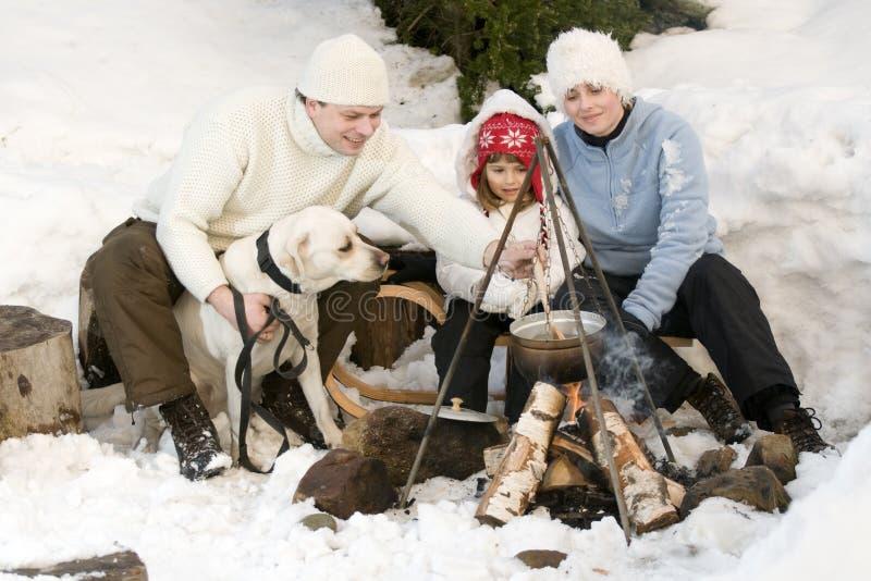 Het kamperen van de winter royalty-vrije stock foto
