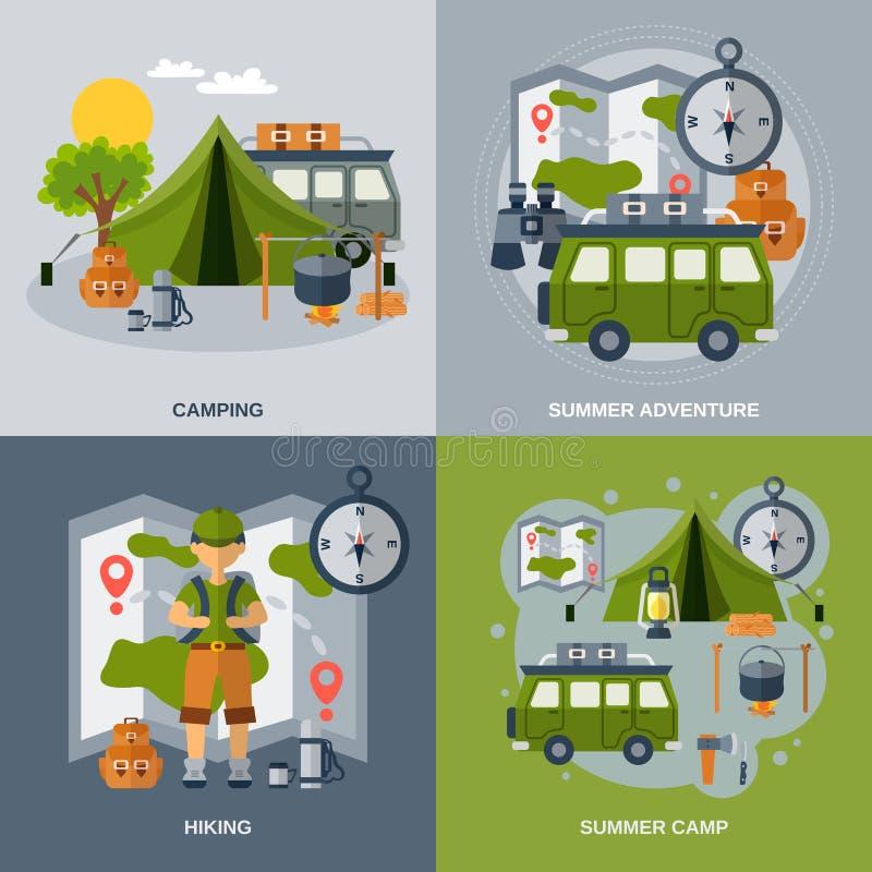 Het kamperen Vlakke Geplaatste Pictogrammen stock illustratie