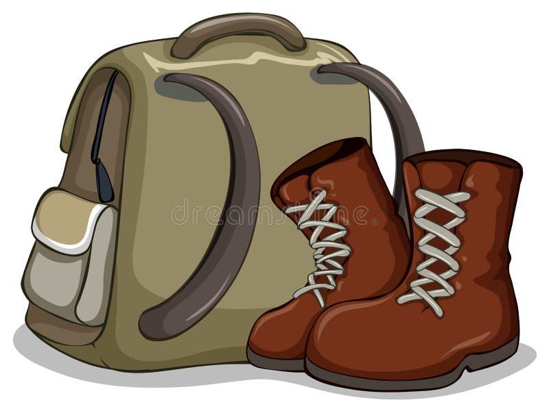 Het kamperen zak en laarzen stock illustratie