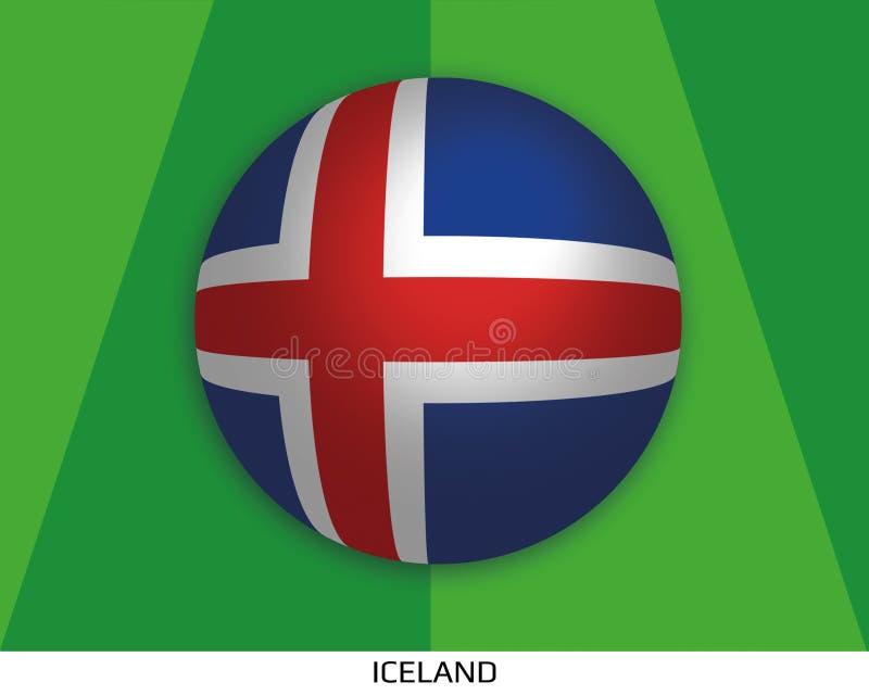 Het kampioenschap van de voetbalwereld met vlag van IJsland maakte rond als voetbalbal op een het spelen gras vector illustratie