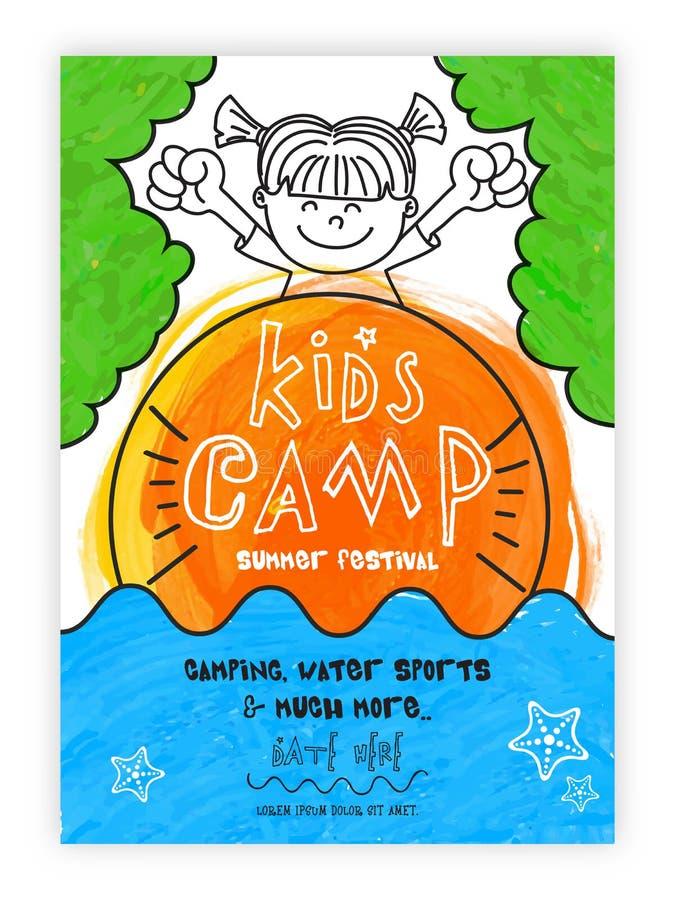 Het Kampmalplaatje, Banner of Uitnodiging van de zomerjonge geitjes vector illustratie