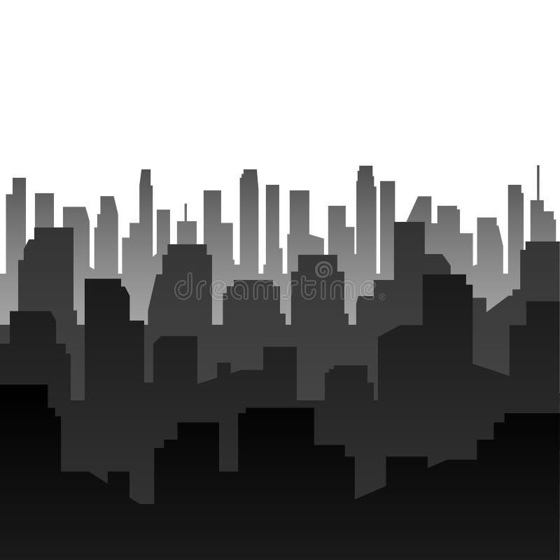 Het kan voor prestaties van het ontwerpwerk noodzakelijk zijn Silhouet van de stad royalty-vrije illustratie