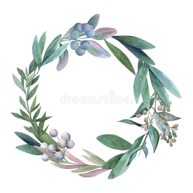 Het kan voor het verfraaien van huwelijksuitnodigingen, groetkaarten en decoratie voor zakken worden gebruikt Getrokken waterverf vector illustratie