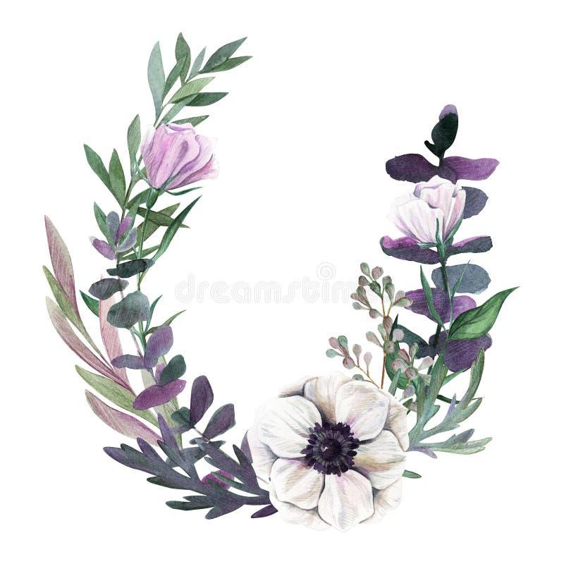 Het kan voor het verfraaien van huwelijksuitnodigingen, groetkaarten en decoratie voor zakken worden gebruikt Getrokken waterverf stock illustratie