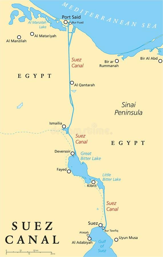 Het Kanaal politieke kaart van Suez vector illustratie