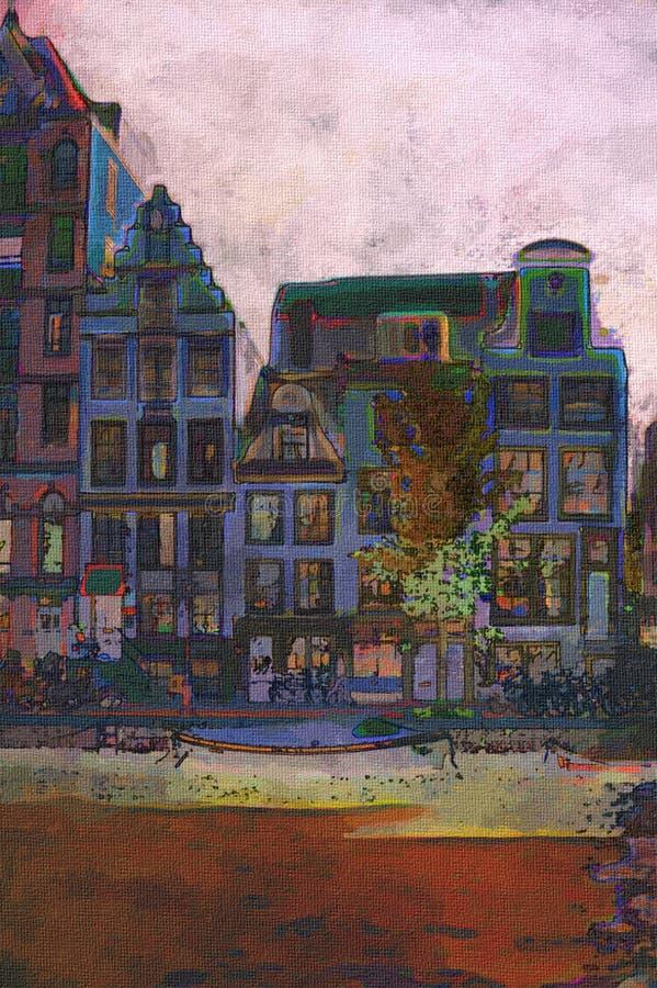 Het kanaal van Amsterdam vector illustratie