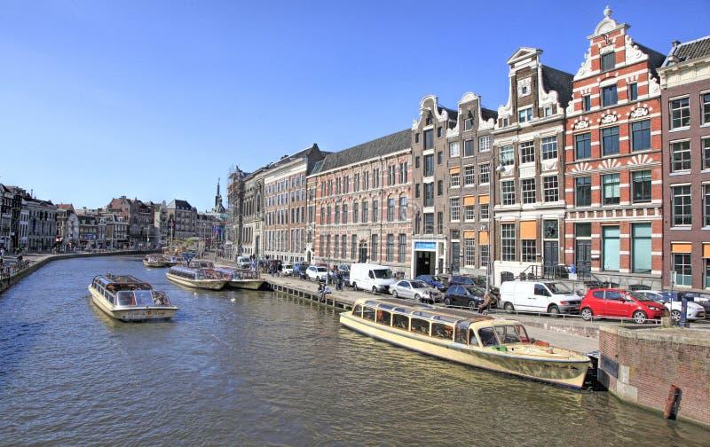 Het Kanaal van Amsterdam, Holland stock foto