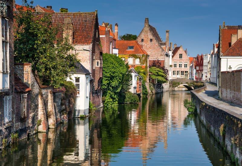 Het kanaal van Brugge, België stock fotografie