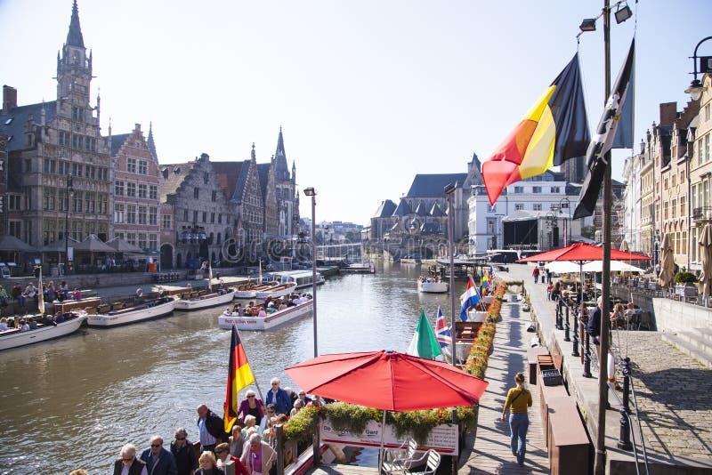Het kanaal van Gent stock foto