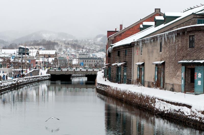 Het Kanaal van Otaru in de winter, Hokkaido, Japan royalty-vrije stock foto's