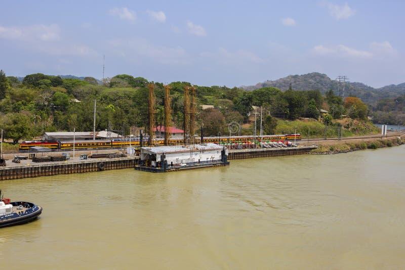 Het kanaal van Panama, de spoorweg van Panama royalty-vrije stock afbeelding