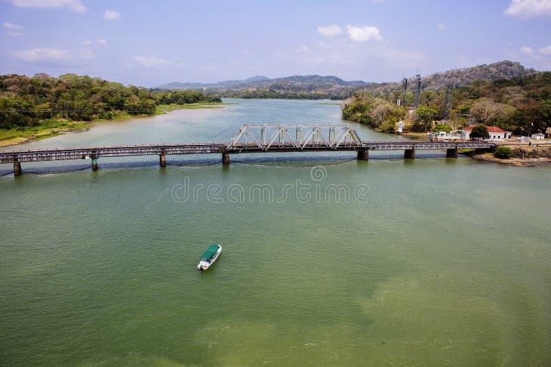 Het kanaal van Panama, de spoorweg van Panama royalty-vrije stock foto