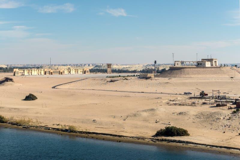 Het Kanaal van Suez in Ismailia, Egypte royalty-vrije stock afbeelding