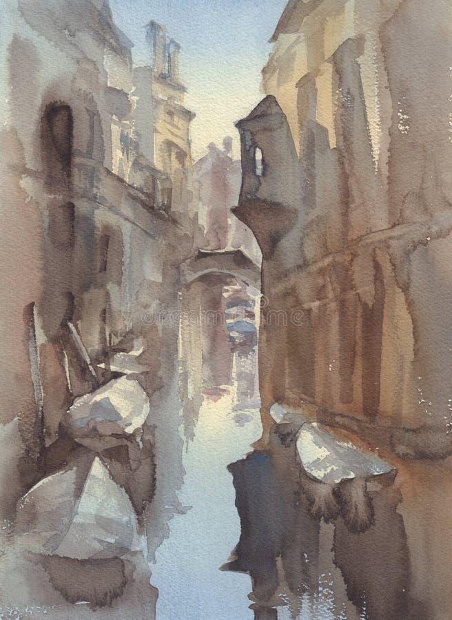 Het kanaal van Venetië met de schetsachtergrond van de botenwaterverf stock illustratie