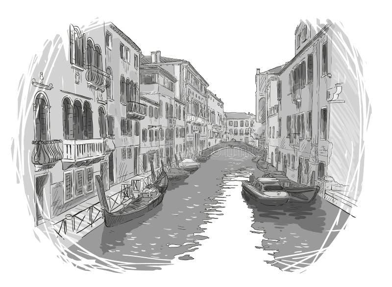 Het kanaal vectorschets van Venetië vector illustratie