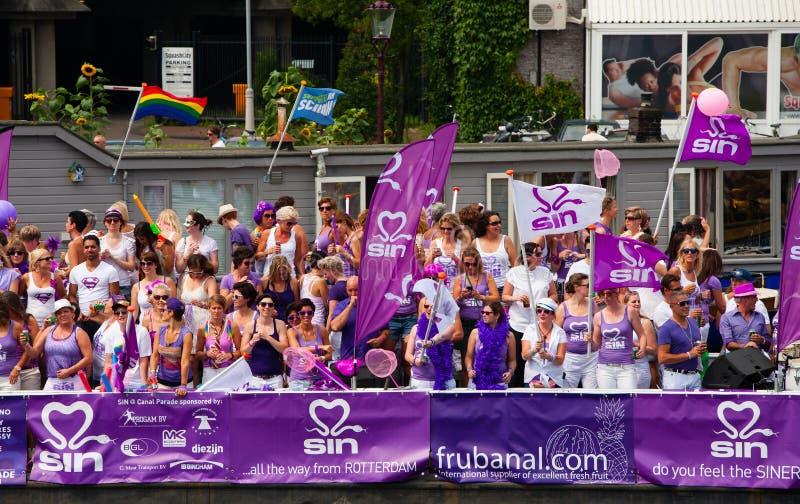 Het Kanaalparade 2014 van Amsterdam stock fotografie