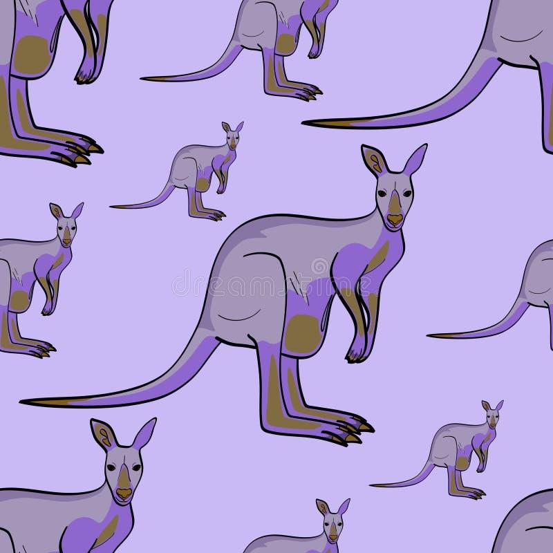 Het kangoeroedier is een naadloos patroon van Canada Het kan voor prestaties van het ontwerpwerk noodzakelijk zijn Schaduwen van  stock illustratie