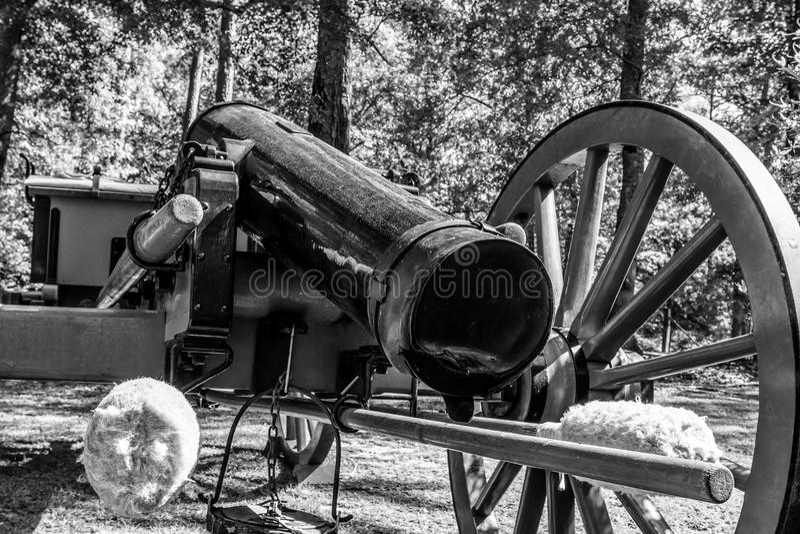 Het kanon dichte omhooggaand van de Burgeroorlogera - zwart-wit royalty-vrije stock fotografie