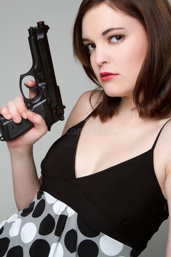 Het Kanon van de Holding van het meisje stock afbeelding