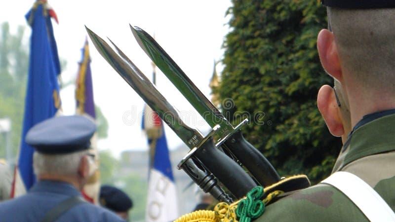 Het kanon van de Soliderholding bij parade in Frankrijk stock foto's