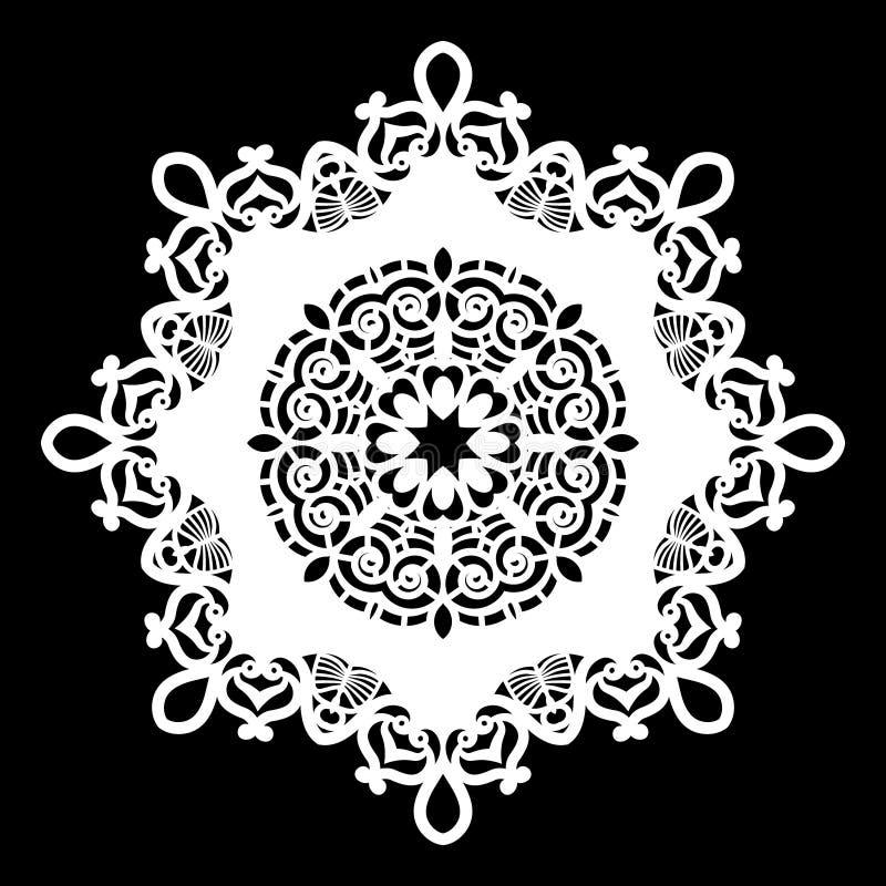 Het kant om document doily, kanten sneeuwvlok, begroetend element, malplaatje voor scherpe plotter, rond patroon, laser sneed mal stock illustratie