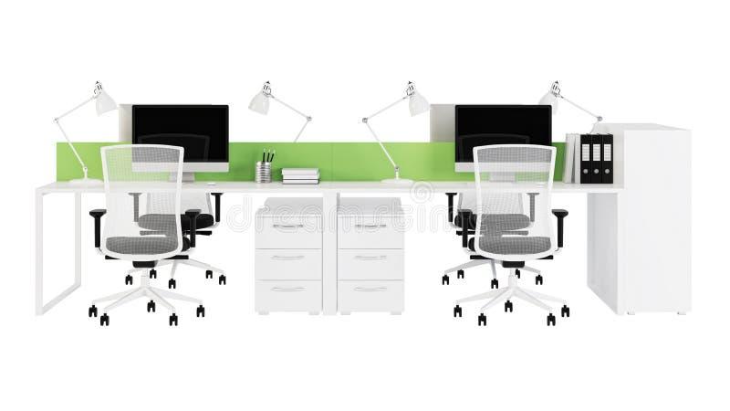 Het kantoormeubilair wordt beslist op een witte achtergrond royalty-vrije illustratie