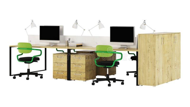 Het kantoormeubilair wordt beslist op een witte achtergrond vector illustratie