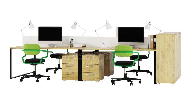 Het kantoormeubilair wordt beslist op een witte achtergrond stock illustratie