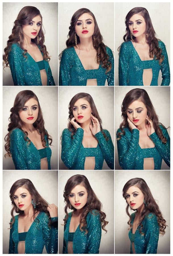 Het kapsel en maakt omhoog - mooi vrouwelijk kunstportret met mooie ogen elegantie Lang haarbrunette in studio Portret royalty-vrije stock foto's