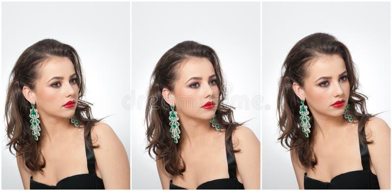 Het kapsel en maakt omhoog - mooi vrouwelijk kunstportret met oorringen elegantie Echt natuurlijk brunette met juwelen royalty-vrije stock fotografie