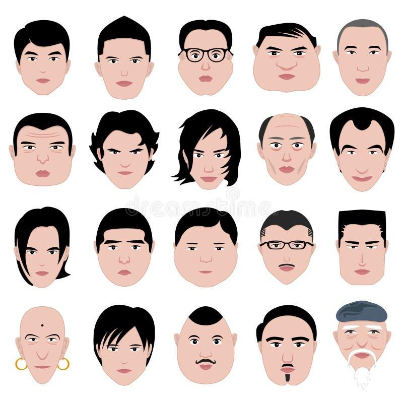Het kapsel van de het gezichtsvorm van de mens om vette dunne oud royalty-vrije illustratie