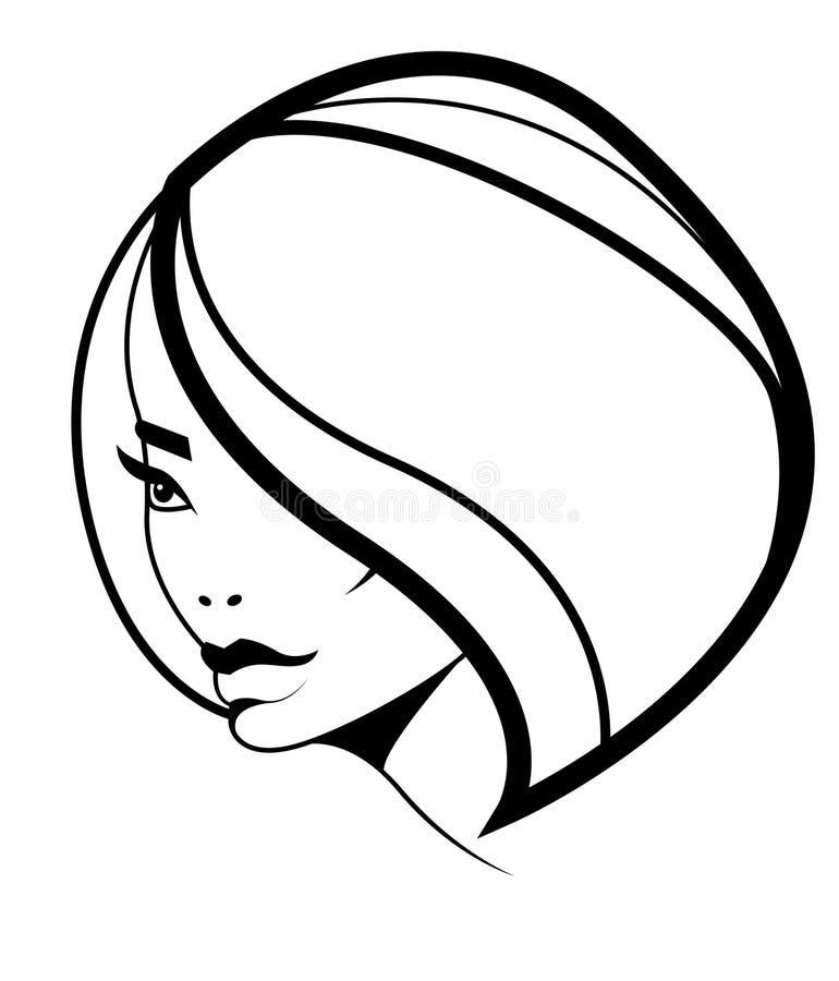 Het kapselpictogram van het loodje, vrouwenmodel met volumehaar royalty-vrije illustratie