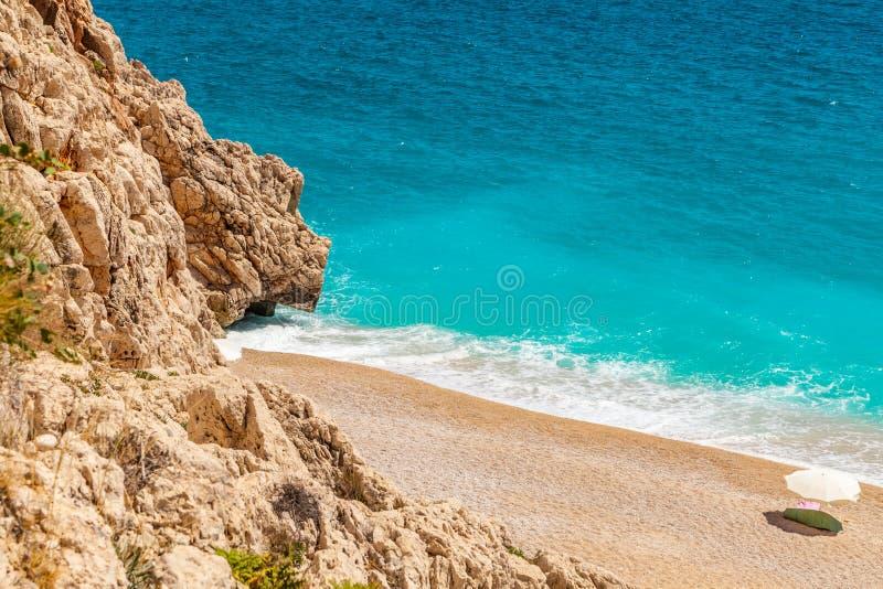 Het Kaputashstrand is het beste strand in Turkije Middellandse Zee royalty-vrije stock foto