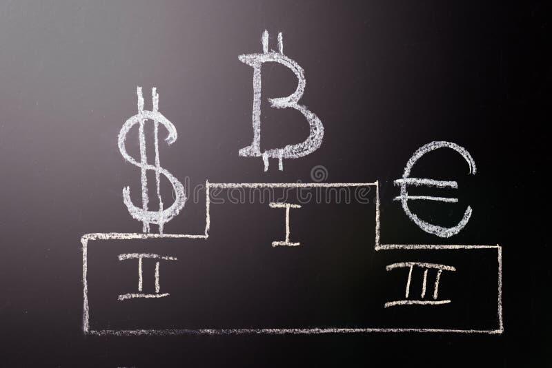 Het karakter is de leider van Bitcoin over traditionele munten: een Symbool van de groei en leidings e-Munt Het karakter van stock foto